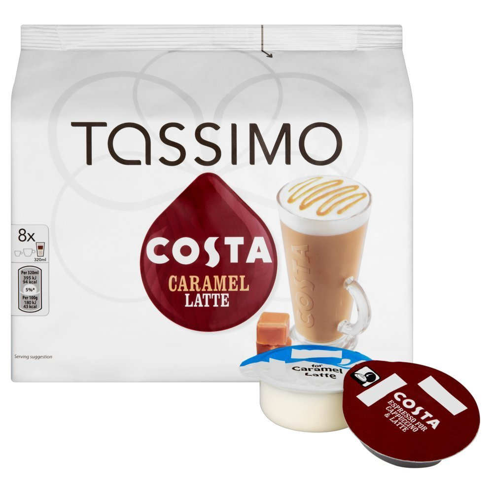 tassimo costa caramel latte coffee refill t discs pods capsules 5 pack 40 drink ebay. Black Bedroom Furniture Sets. Home Design Ideas